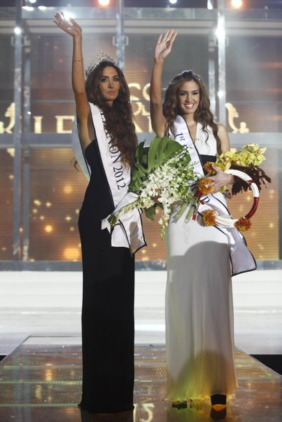 a94f017ec Rina Chibany holds her tiara after being crowned Miss Lebanon 2012 in  Platea venue hosted by LBCI Lebanese Broadcasting